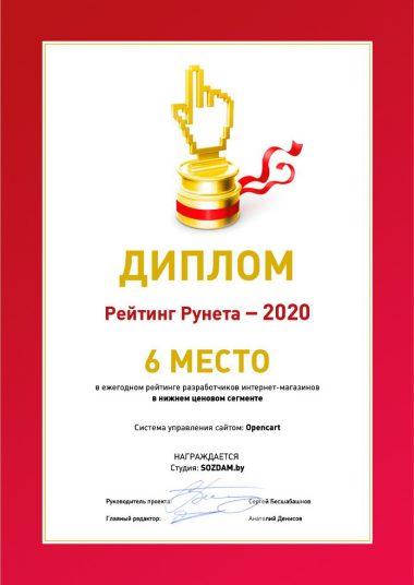 Диплом Рунета 2020